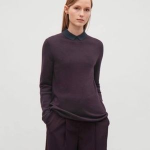 COS Contrast Collar Merino Top in Plum Size Small